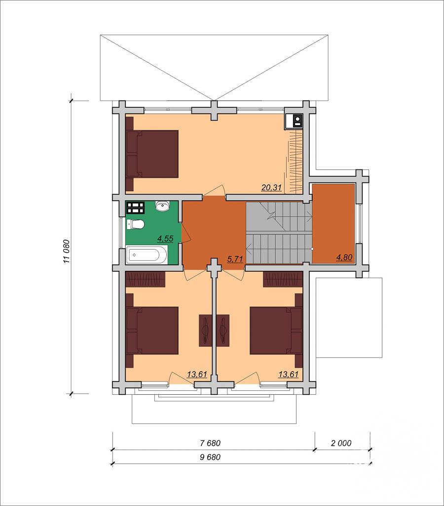 Дизайн фасада коттеджа 200м2 в КП Палникс 5