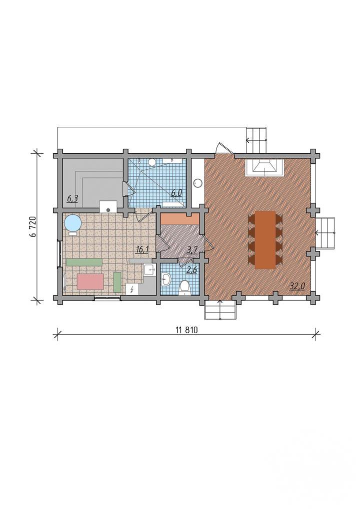 Дизайн фасада дома 65 м2 в КП Дубрава 4