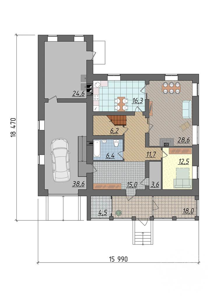 Дизайн проект фасада коттеджа 290 м2 5