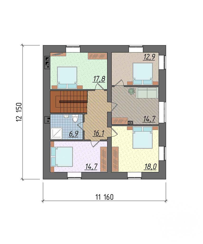 Дизайн проект фасада коттеджа 290 м2 4