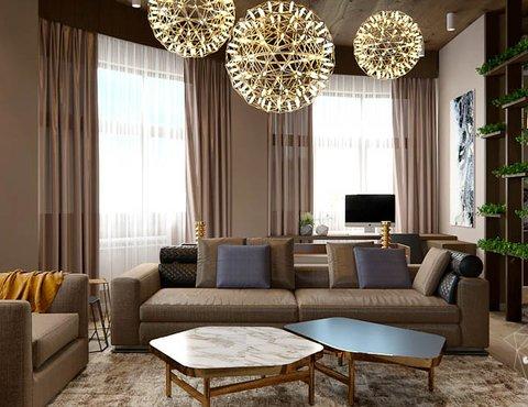 Дизайн интерьера двухкомнатной квартиры в Сочи