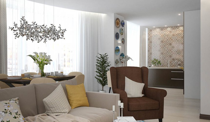 Дизайн интерьера двухкомнатной квартиры в ЖК Чемпион Парк 5