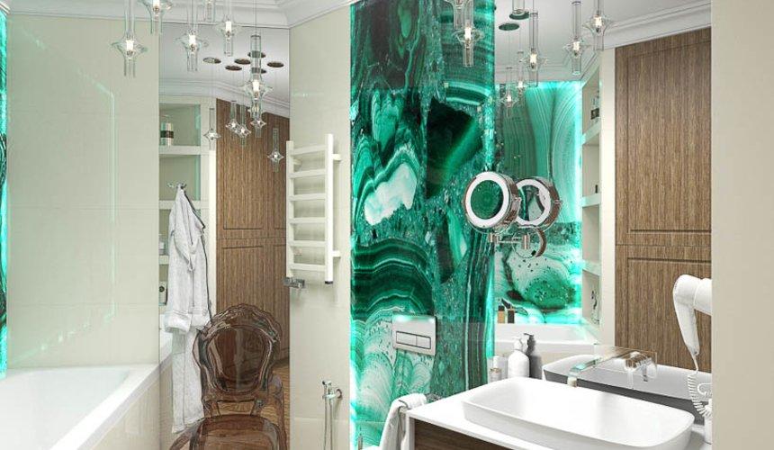 Дизайн интерьера гостиной и санузлов четырехкомнатной квартиры в ЖК Флагман 11