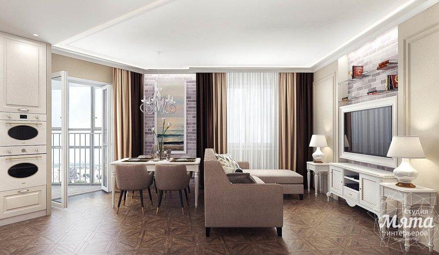 Дизайн интерьера гостиной и санузлов четырехкомнатной квартиры в ЖК Флагман 4