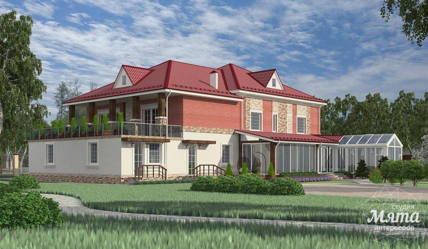 Дизайн фасада дома 532 м2 и бани 152 м2 г. Арамиль 9